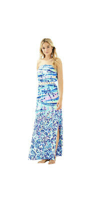 $49 • Buy Lilly Pulitzer Mika Maxi Dress Blue Current Chasing Waves Engineered Size SMALL