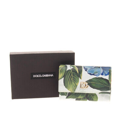 $ CDN1.71 • Buy RRP€380 DOLCE & GABBANA Dauphine Leather Trifold Wallet Floral Print Coin Pocket