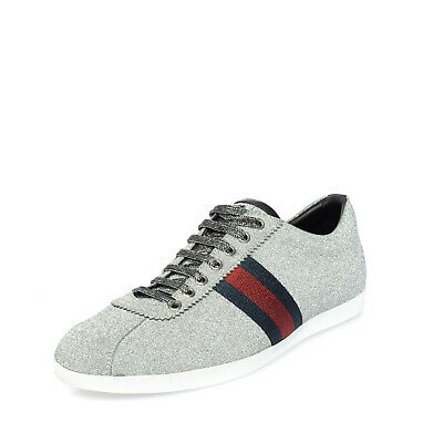 AU162.41 • Buy RRP €650 GUCCI Leather Sneakers EU 44.5 UK 10.5 US 11 Lame Effect Made In Italy