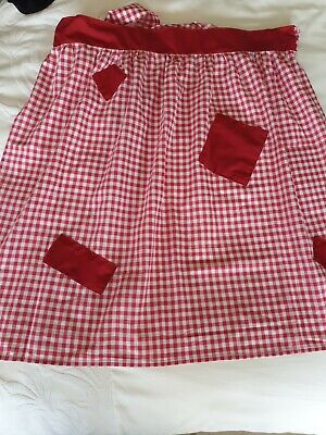 £5 • Buy Vintage Style Half Apron Pinny With Patch Pocket. Red