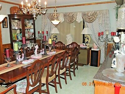$1800 • Buy Vintage Mahogany Dark Wood Dining Room Table With 12 Chairs