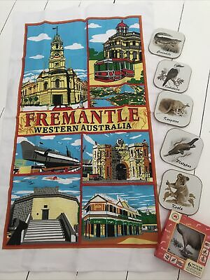 £2.99 • Buy Tea Towel, Cotton And Set Of 6 Coasters, Boxed, With Australian Theme.