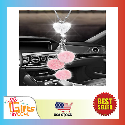 $14.99 • Buy Alotex Bling Car Accessories For Women & Men Bling White Heart And Pink Fuzzy