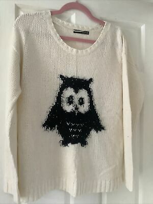 £2.50 • Buy Womans Cream Jumper With Owl Design Size 14