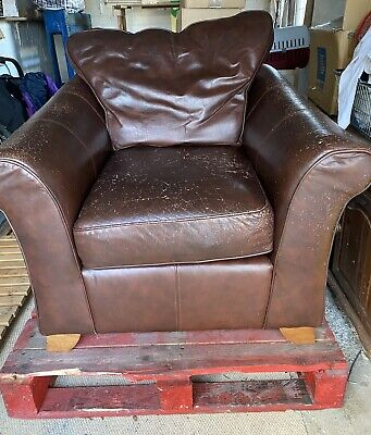 £15.90 • Buy Marks And Spencer Abbey Brown Leather Armchair Upcycling Project