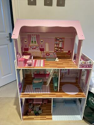 £10.40 • Buy Wooden Kids Doll House All In 1 With Furniture & Staircase Best Dolls Role Play