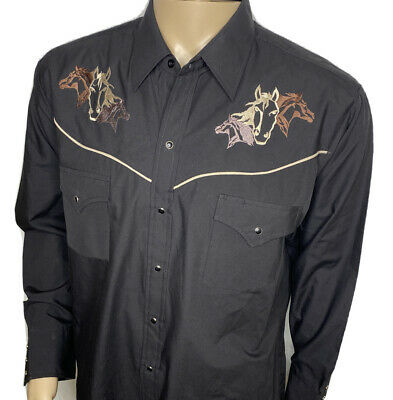 $24.99 • Buy Ely Cattleman Western Shirt Pearl Snap Embroidered Horses Black Brown Men Sz L