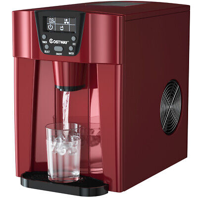 $189.49 • Buy 2 In 1 Ice Maker Water Dispenser Countertop 36Lbs/24H LCD Display Compact Red