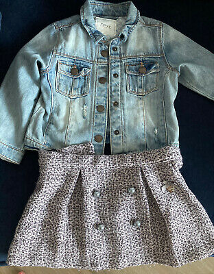 £0.99 • Buy Next Denim Jacket With Le Chic Baby Boutique  Skirt Age 2-3