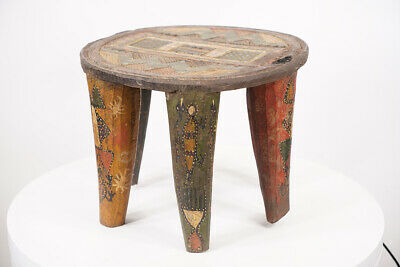 £152.17 • Buy Hand Carved Wooden Nupe African Stool 13.5  Wide - Nigeria