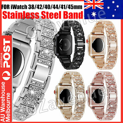 AU14.99 • Buy For Apple IWatch Series SE 6 5 4 3 2 1 Diamond Stainless Steel Watch Band Strap