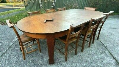 AU495 • Buy Antique Solid Silky Oak Extension Dining Table With 8 English Chapel Chairs