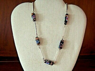 $29.99 • Buy Vintage Millefiori Gold Tone, Bar Link Necklace With Venetian Glass Beads, 30  L