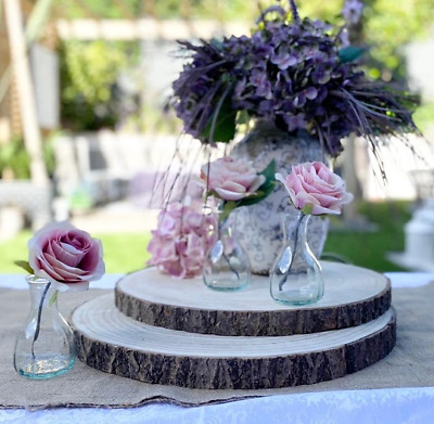 £17.99 • Buy Large Natural Wood Log Slice Tree Bark Chic Wedding Table Centrepiece Cake Stand