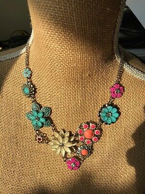 £2.99 • Buy Beautiful Accessorize Summer Statement Necklace Turquoise Peach Pink