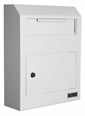 $132.11 • Buy  Wall Mount Locking Drop Box Steel Mailbox For Rent Payments, Mail, Keys, Gray