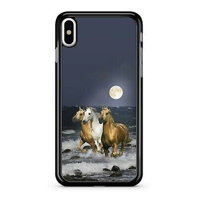 $13.93 • Buy White Lush Brown Majestic Galloping Horses Ocean Full Moon Phone Case Cover