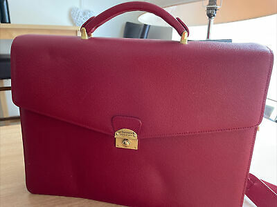 £5.80 • Buy Le Tanneur Red Leather Brief Case With Shoulder Strap