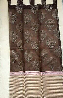 £15.50 • Buy NEW Pair Of B&Q 54 X 54 Brown / Beige / Cream Floral Leafy Voile Net Curtains