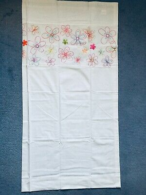 £15.50 • Buy NEW Pair Of B&Q 57 X 54 Flower Floral White Embroidery Patterned Curtains