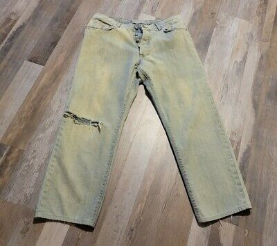 $7.50 • Buy Versace Mens Distressed Jeans Couture 36/50 Made In Italy 27 Inseam Button Fly