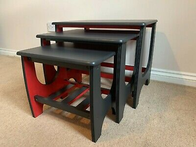 £180 • Buy Danish Mid Century Nest Of Tables Black And Red