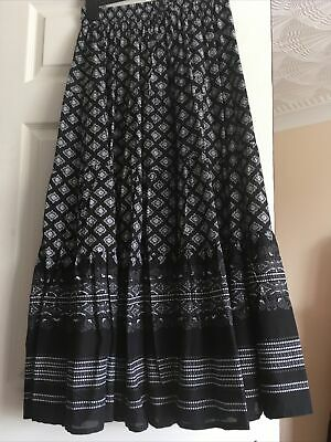 £10 • Buy Unbranded Black Print Tiered Boho Peasant Ethnic Maxi Skirt One Size