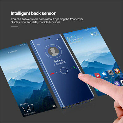 AU5.65 • Buy For OnePlus 8 7 Pro 6T 6 5T,Shockproof Clear View Mirror Flip Stand Case Cover