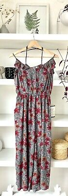 AU23.56 • Buy FAT FACE Beautiful Strappy Floral Red/purple/grey Jumpsuit! Uk12