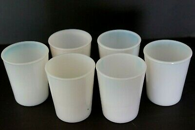 $34.50 • Buy Vintage Set Of 6 White Milk White Glass Opalescent 3.5  Cups Juice Tumbler 1930s