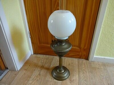 £52 • Buy Vintage Brass Column Oil Lamp Double Burner With Glass Shade & Funnel