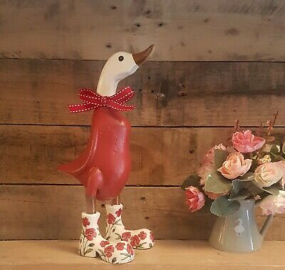 £19.99 • Buy Handpainted Decoupage Wooden Bamboo Red Duck Ornament With Flower Wellies  Boots