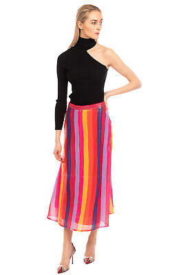 £13 • Buy RRP €240 OLIVIA RUBIN Flare Skirt Size 12 M Fully Lined Striped Sequins Zip Fly