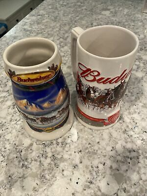 $ CDN24.95 • Buy Budweiser Clydesdale Beer Holiday Steins Lot Of 2 2000 & 2011 Ceramic Christmas