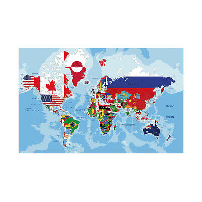 AU12.92 • Buy WORLD MAP COUNTRIES FLAGS POSTER WALL DECOR SIZE 59*39in