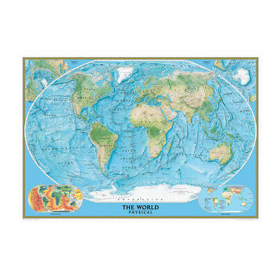 AU12.92 • Buy MAP OF THE WORLD PHYSICAL MAPS POSTER PRINT SIZE 59*39in