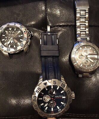 $19.99 • Buy Watch Lot~Nautica & Fossil Watches & Nautica Watch Face~3pc~Non-Working/Parts