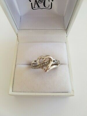 AU29.50 • Buy Sterling Silver 925 Diamond Accent Heart Shape Ring Size N (3.7g)