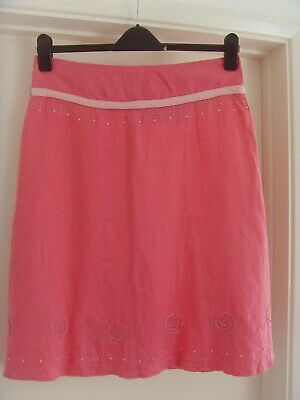 £0.99 • Buy Pachamama Pink Linen Summer Skirt, Boho, Embroidery - Size 2, See Dimensions
