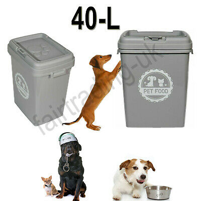 £22.95 • Buy 40L Grey Pet Animal Dog Cat Food Dry Feed Container Storage Box Bin & Scoop