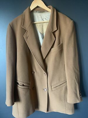 £14.75 • Buy Huck Cashmere/wool Coat 14 Tan/camel Double Breasted