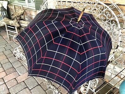 £13.67 • Buy Vintage Burberry Umbrella 1986 Classic Check Plaid Navy Blue Made In London EUC