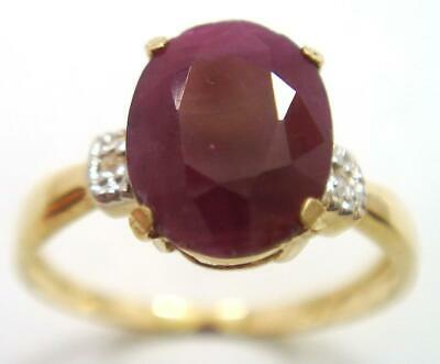 £89.99 • Buy Syjewellery 9ct Solid Yellow Gold Natural Oval Ruby & Diamond Ring Size N R1266