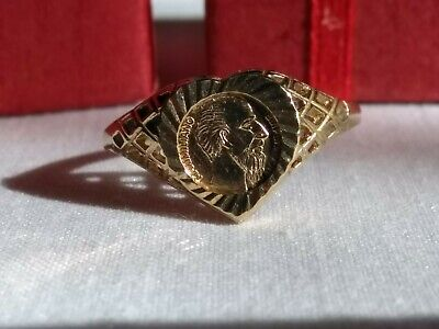 £10 • Buy 9ct Gold Heart Shaped Sovereign Style Ring Size S And Box