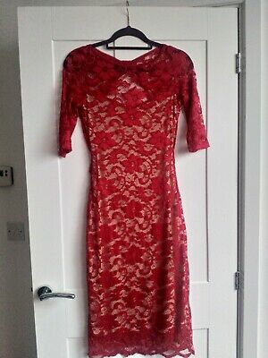 £4.99 • Buy Elise Ryan Red Lace Dress Size 12 Cut Out Back Knee Length 3/4 Sleeves