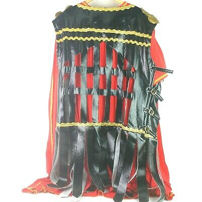 $15.99 • Buy Adult Roman Gladiator Men's Halloween Costume Cloak Red Straps Buckle L To XL A8