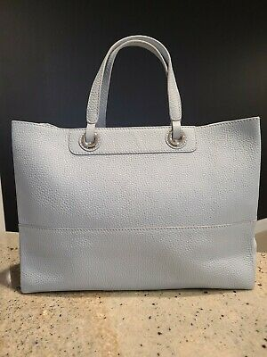 AU40 • Buy 'Oroton' Leather Tote Bag Pastel Blue With Silver Hardware