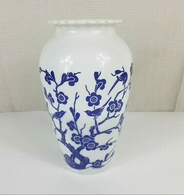 $27.99 • Buy Vintage Anchor Hocking Fire King White Milk Glass Vase Blue Birds And Flowers