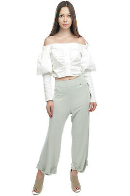AU1.87 • Buy C/MEO COLLECTIVE Top Blouse Size L Gathered Off The Shoulder Long Sleeve Cropped