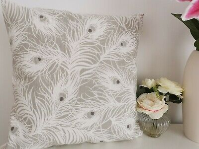 £6.99 • Buy Lovely Grey Peacock Feather Cushion Cover 17 X17  *Brand New* Fab!